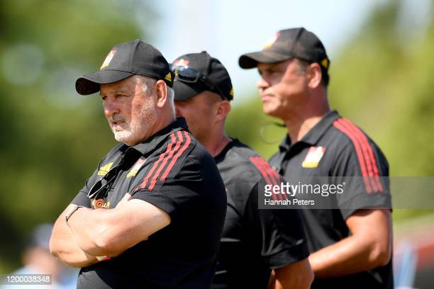 Head coach Warren Gatland of the Chiefs looks on during the Super Rugby pre-season match between the Chiefs and the Blues at Waihi Athletic Rugby...
