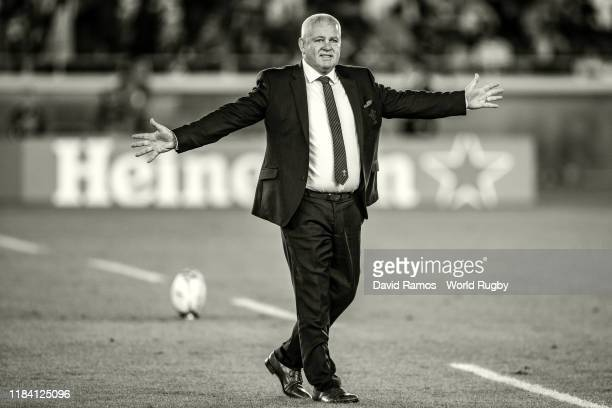 Head coach Warren Gatland of Wales waves to the crowd during the warm up prior to the Rugby World Cup 2019 SemiFinal match between Wales and South...