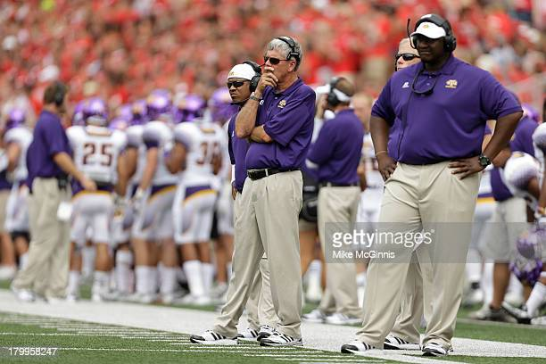 Head Coach Watson Brown of the Tennessee Tech Golden Eagles watches the game from the sidelines during the game against the Wisconsin Badgers at Camp...