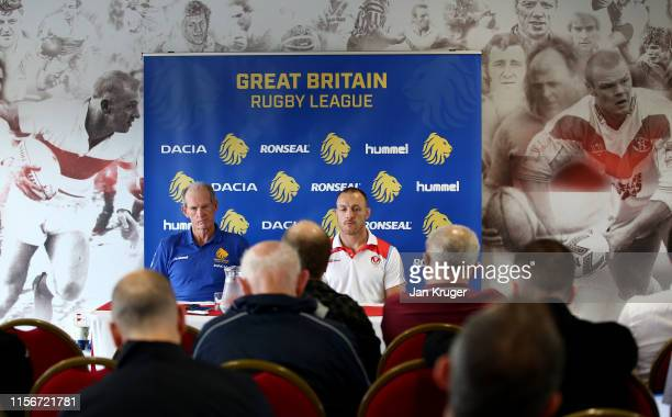 Head Coach Wayne Bennett and James Roby address the media during the Great Britain Rugby League Lions announcement at Totally Wicked Stadium on June...