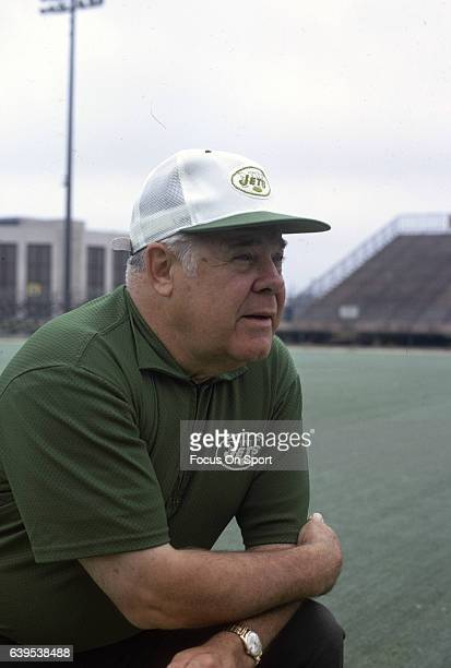 Head coach Weeb Ewbank of the New York Jets looks on during a practice circa 1971 in New York City Ewbank coached the Jets from 196373