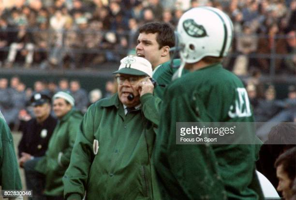 Head coach Weeb Ewbank of the New York Jets looks on from the sidelines during an AFL football game circa 1969 at Shea Stadium in the Queens borough...