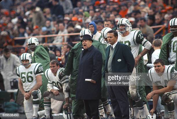 Head coach Weeb Ewbank of the New York Jets looks on from the sidelines against the Kansas City Chiefs during an AFL football game November 5 1967 at...