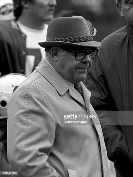 Head coach Weeb Ewbank of the New York Jets on the sidelines during a game on November 18 1973 against the Cincinnati Bengals at Riverfront Stadium...