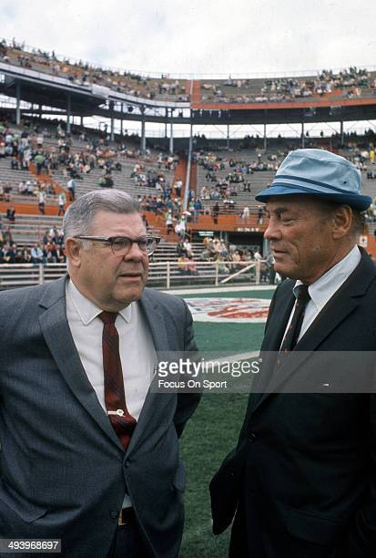 Head Coach Weeb Ewbank of the New York Jets prior to the start of Super Bowl III against the Baltimore Colts at the Orange Bowl on January 12 1969 in...