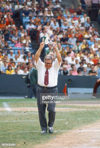 Head coach Weeb Ewbank of the New York Jets reacts after a call during an AFL football game circa 1967 Ewbank coached the Jets from 196373