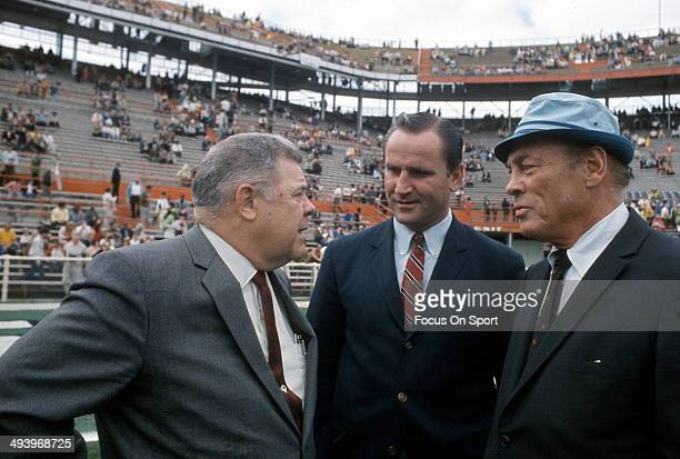 Head Coach Weeb Ewbank of the New York Jets talks with head coach Don Shula of the of the Baltimore Colts prior to the start of Super Bowl III at the...
