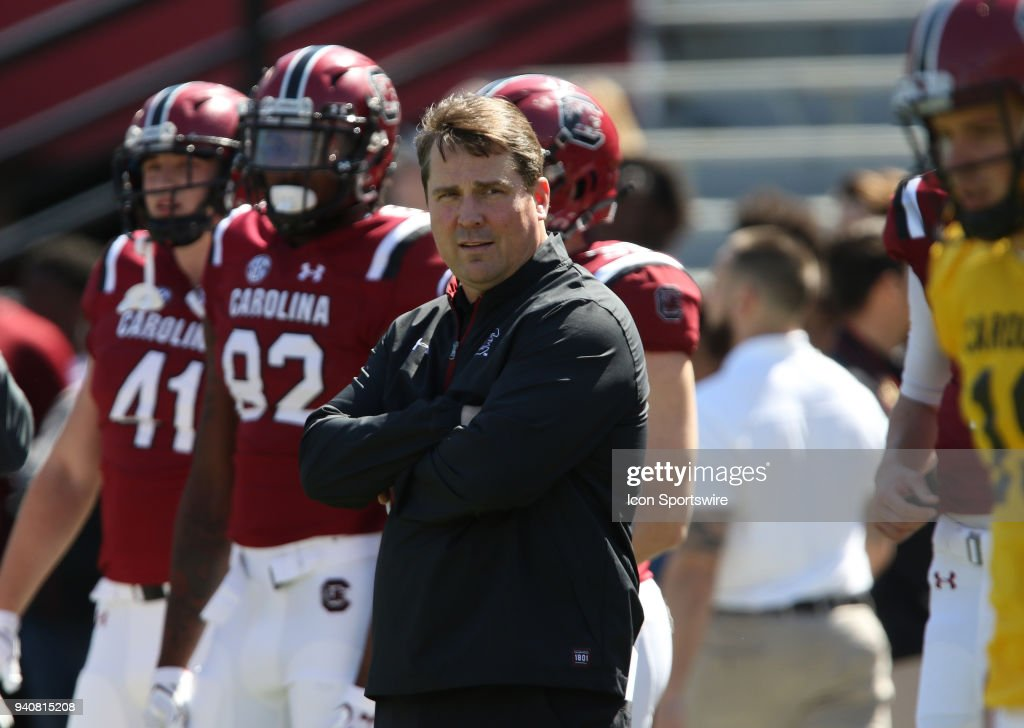 Head Coach Will Muschamp during action of the University of South Carolina Garnett and Black inner squad football game at Williams-Brice Stadium in Columbia, SC on March 31, 2018.