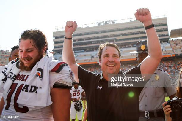 Head coach Will Muschamp of the South Carolina Gamecocks celebrates after the game against the Tennessee Volunteers at Neyland Stadium on October 14...