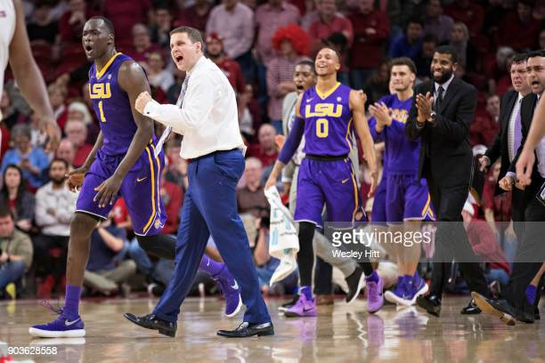 Head Coach Will Wade of the LSU Tigers celebrates with his team during a timeout against the Arkansas Razorbacks at Bud Walton Arena on January 10...