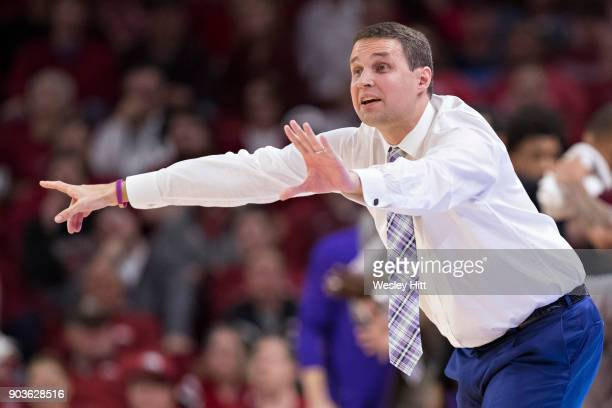 Head Coach Will Wade of the LSU Tigers directs his team during a game against the Arkansas Razorbacks at Bud Walton Arena on January 10, 2018 in...