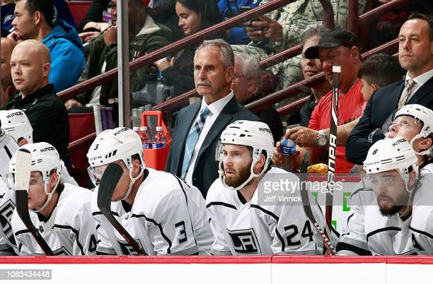 Head coach Willie Dejardins of the Los Angeles Kings looks on from the bench during their NHL game against the Vancouver Canucks at Rogers Arena...
