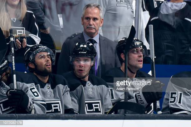 Head coach Willie Desjardins of the Los Angeles Kings looks on during the first period of the game against the Vancouver Canucks at STAPLES Center on...
