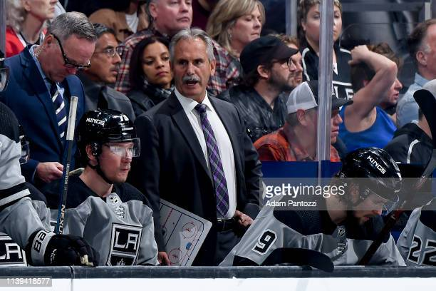 Head coach Willie Desjardins of the Los Angeles Kings looks on during the third period of the game against the Chicago Blackhawks at STAPLES Center...
