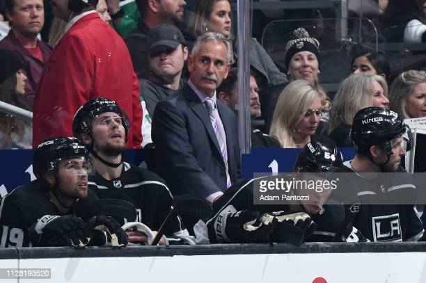 Head coach Willie Desjardins of the Los Angeles Kings looks on from the bench during the third period of the game against the Dallas Stars at STAPLES...