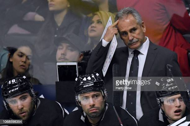 Head coach Willie Desjardins of the Los Angeles Kings reacts during the third period in a 21 Arizona Coyotes win at Staples Center on December 4 2018...
