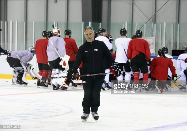 Head coach Willie Desjardins of the Men's Canadian Ice Hockey Team conducts practice ahead of the PyeongChang 2018 Winter Olympic Games at the...