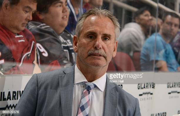Head coach Willie Desjardins of the Vancouver Canucks watches third period action against the Arizona Coyotes at Gila River Arena on April 6 2017 in...