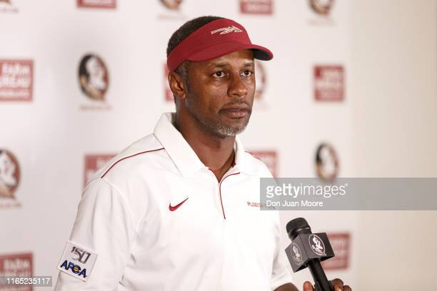 Head Coach Willie Taggart of the Florida State Seminoles answers questions from the post game press conference after the game against the Boise State...