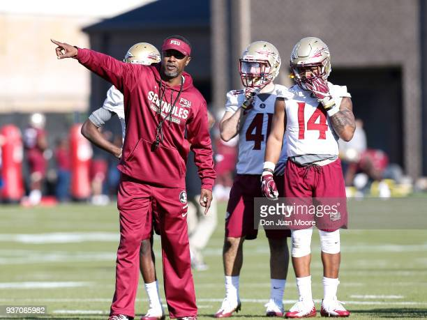 Head Coach Willie Taggart of the Florida State Seminoles during Spring Football Practice at the Albert J Dunlap Athletic Training Facility on March...