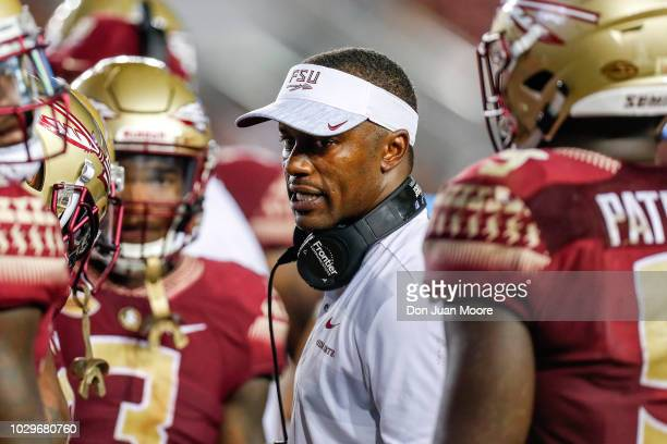 Head Coach Willie Taggart of the Florida State Seminoles during the game against the Samford Bulldogs at Doak Campbell Stadium on Bobby Bowden Field...