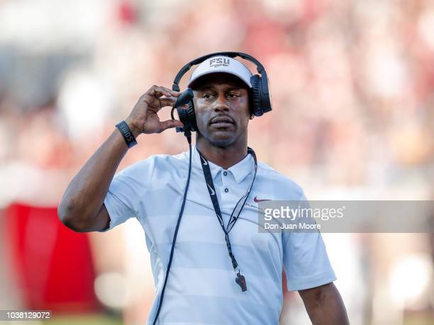 Head Coach Willie Taggart of the Florida State Seminoles during the game against the Northern Illinois Huskies at Doak Campbell Stadium on Bobby...