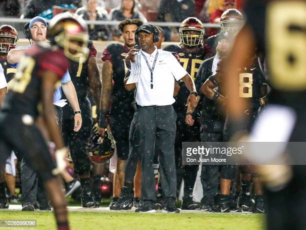 Head Coach Willie Taggart of the Florida State Seminoles on the sidelines during the game against the Virginia Tech Hokies at Doak Campbell Stadium...