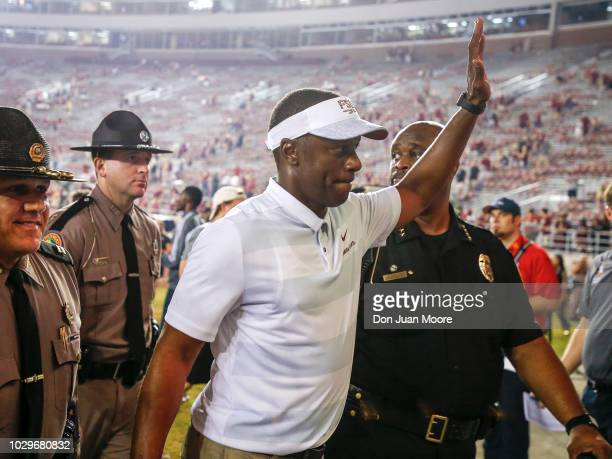 Head Coach Willie Taggart of the Florida State Seminoles waves to the fans after the game against the Samford Bulldogs at Doak Campbell Stadium on...