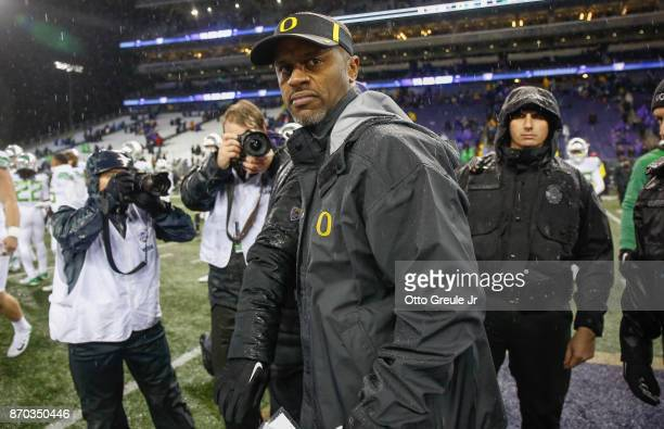 Head coach Willie Taggart of the Oregon Ducks heads off the field after the game against the Washington Huskies at Husky Stadium on November 4 2017...
