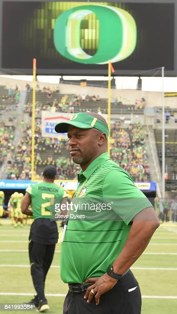 Head coach Willie Taggart of the Oregon Ducks looks on during warmups before the game against the Southern Utah Thunderbirds at Autzen Stadium on...