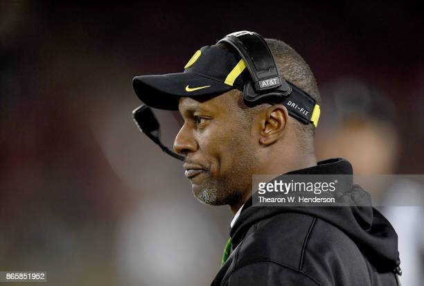 Head coach Willie Taggart of the Oregon Ducks looks on from the sidelines against the Stanford Cardinal during their NCAA football game at Stanford...