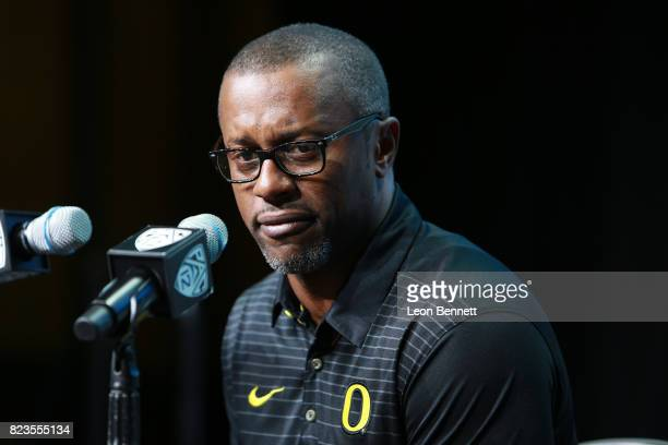 Head coach Willie Taggart of the Oregon Ducks speaks to the media during PAC12 Media Days on July 27 2017 in Hollywood California
