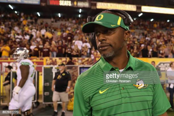 Head coach Willie Taggart of the Oregon Ducks watches from the sidelines during the college football game against the Arizona State Sun Devils at Sun...