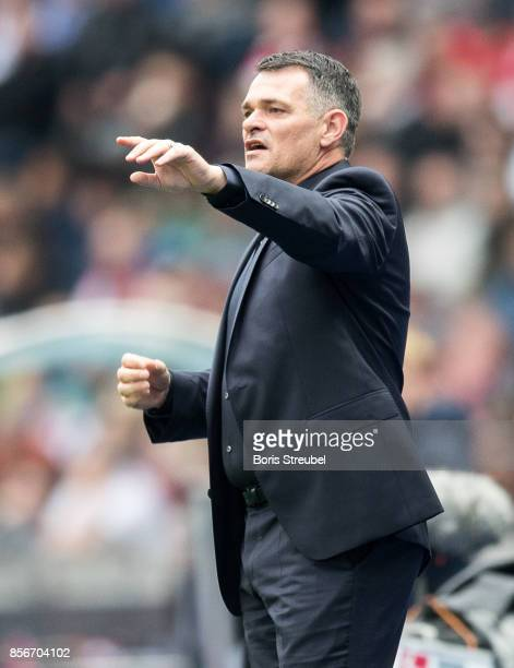 Head coach Willy Sagnol of FC Bayern Muenchen gestures during the Bundesliga match between Hertha BSC and FC Bayern Muenchen at Olympiastadion on...
