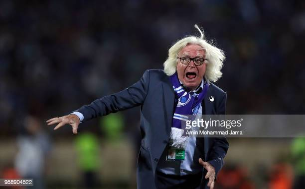 Head coach Winfried Schafer of Esteghlal reacts during AFC Champions League match between Esteghlal FC and Zobahan at Azadi Stadium on May 15 2018 in...
