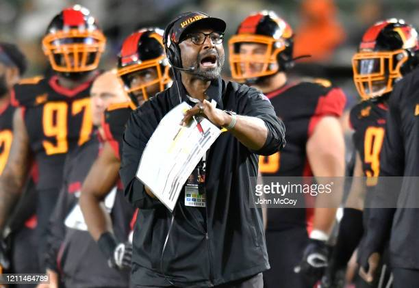 Head Coach Winston Moss of the LA Wildcats while playing the LA Wildcats at Dignity Health Sports Park during an XFL game on March 8 2020 in Carson...
