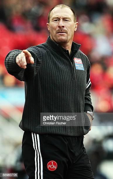 Head coach Wolfgang Wolf of Nuremberg gestures during the Bundesliga match between 1.FC Nuremberg and Arminia Bielefeld at the Franken Stadium on...
