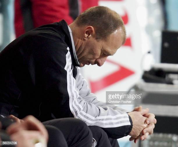 Head coach Wolfgang Wolf of Nuremberg looks dejected during the Bundesliga match between FSV Mainz 05 and 1.FC Nuremberg at the Bruchweg Stadium on...