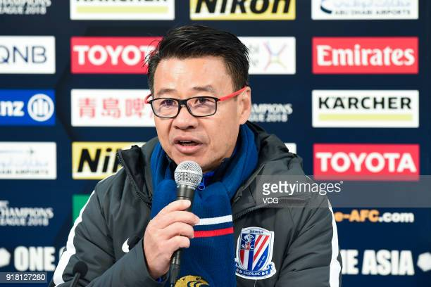 Head coach Wu Jingui of Shanghai Shenhua attends a press conference after the 2018 AFC Champions League Group H match between Kashima Antlers and...