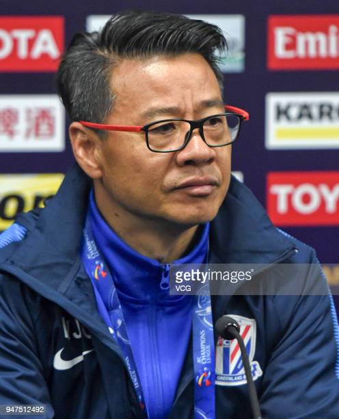 Head coach Wu Jingui of Shanghai Shenhua attends the press conference after the AFC Champions League Group H match between Sydney FC and Shanghai...