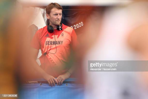 Head coach Xavier Reckinger of Team Germany looks on during the Women's Preliminary Pool A match between South Africa and Germany on day seven of the...