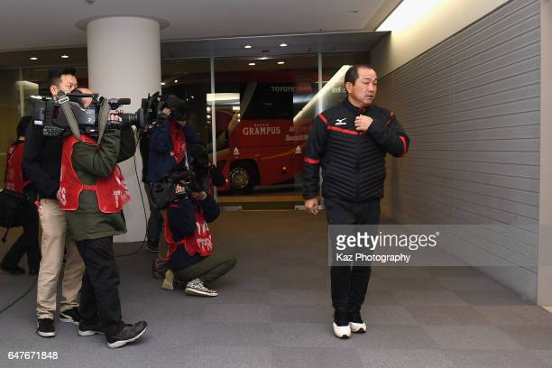 Head coach Yahiro Kazama of Nagoya Grampus is seen on arrival at the stadium prior to the J.League J2 match between Nagoya Grampus and FC Gifu at...