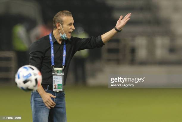 Head coach Yahya Golmohammadi of Persepolis gives tactics during the Asian Football Confederation Champions League semi-final match Jassim Bin Hamad...