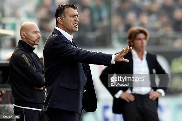 Head Coach Yannis Anastasiou of Panathinaikos in action during the Greek Cup semifinal match between Panathinaikos FC and OFI Crete FC at the...