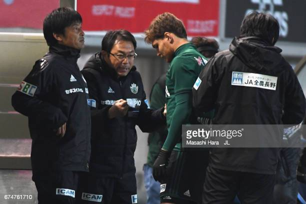 Head coach Yasuharu Sorimachi of Matsumoto Yamaga instructs substitute Paulinho during the JLeague J2 match between Matsumoto Yamaga and Kamatamare...