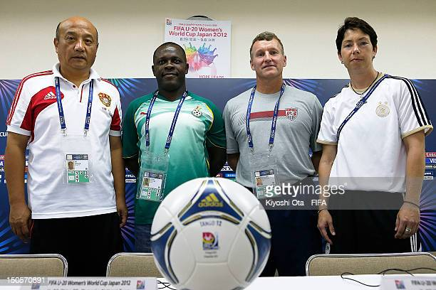 Head coach Yin Tiesheng of China head coach Robert Sackey of Ghana head coach Steve Swanson of USA and head coach Maren Meinert of Germany pose at...