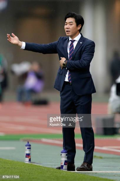 Head coach Yoon Jung Hwan of Cerezo Osaka gestures during the JLeague J1 match between Cerezo Osaka and Vissel Kobe at Yanmar Stadium Nagai on...