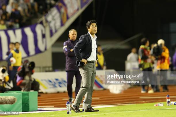 Head coach Yoon Jung Hwan of Cerezo Osaka looks on during the JLeague J1 match between Sanfrecce Hiroshima and Cerezo Osaka at Edion Stadium...