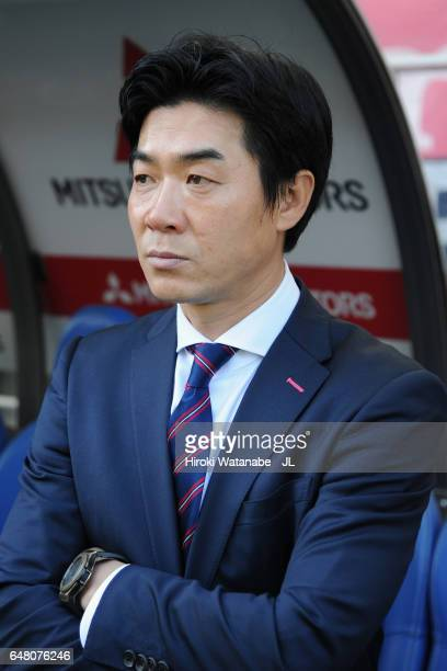 Head coach Yoon Jung Hwan of Cerezo Osaka looks on prior to the JLeague J1 match between Urawa Red Diamonds and Cerezo Osaka at Saitama Stadium on...