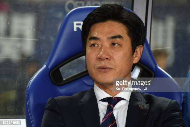 Head coach Yoon Jung Hwan of Cerezo Osaka looks on prior to the JLeague J1 match between Cerezo Osaka and Kawasaki Frontale at Yamnar Stadium on...